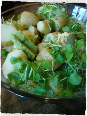 Potato salad with avocado and watercress