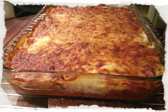 Homemade lasagna with pepporoni