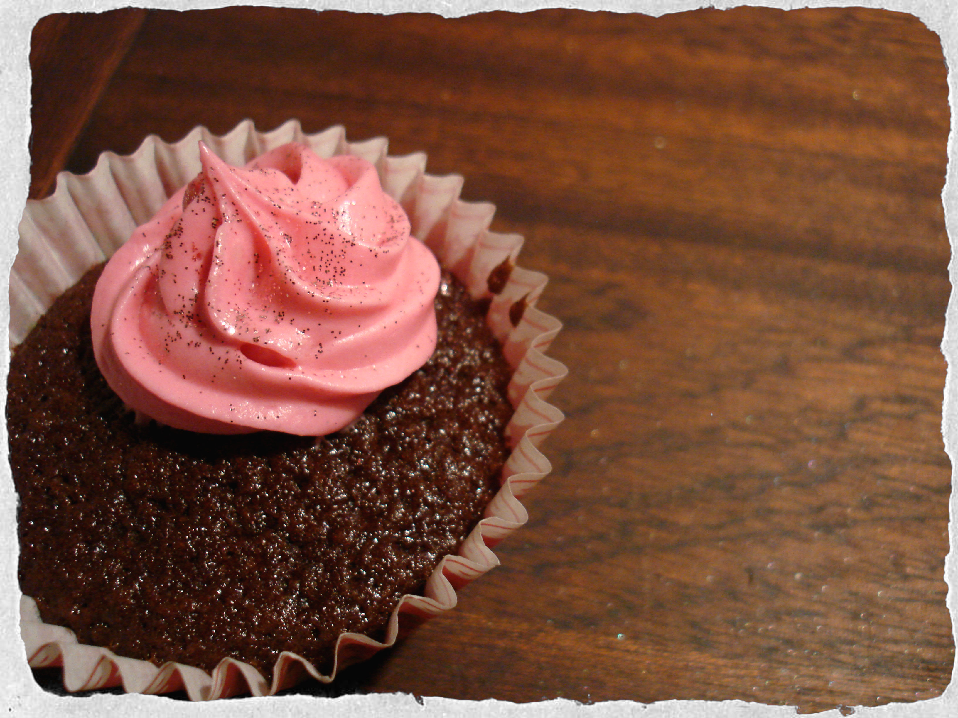 Chocolate cupcake with raspberry cream cheese frosting