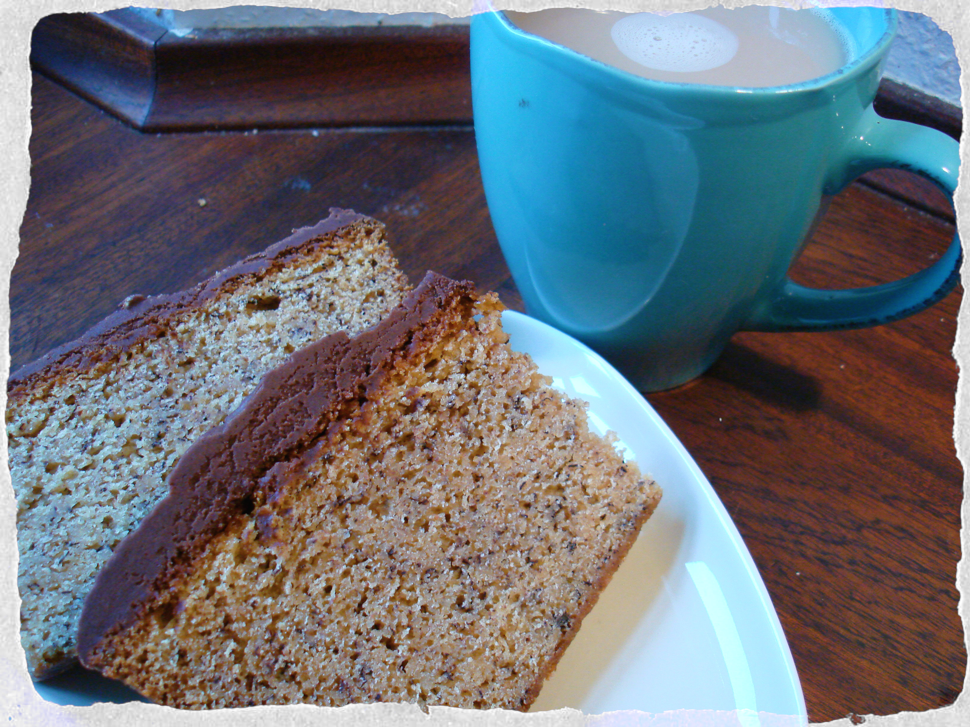 Homemade banan loaf with cocao cream cheese frosting