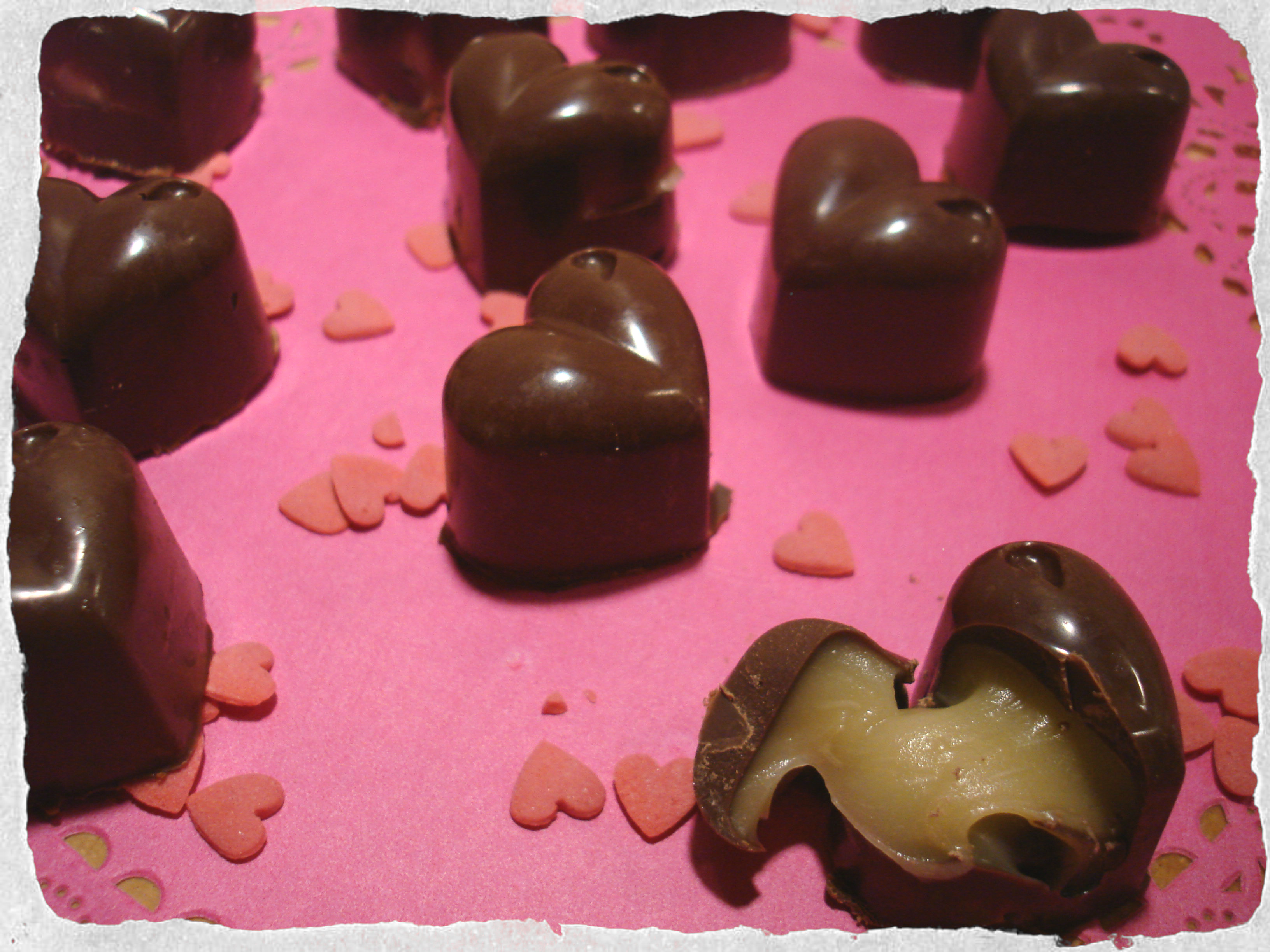 Homemade filled chocolates with Bailey's cream