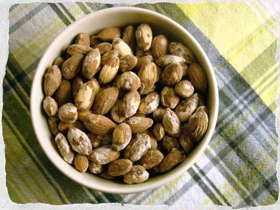 Homemade salted almonds